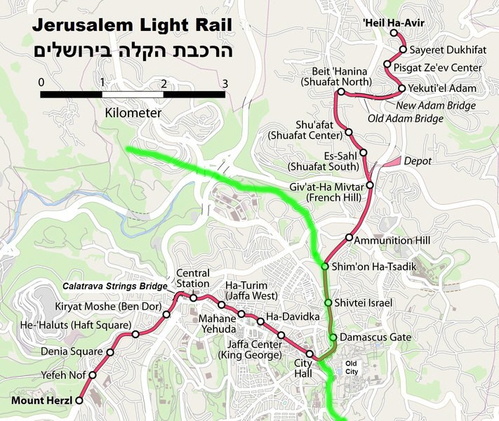 Jerusalem Light Railway map