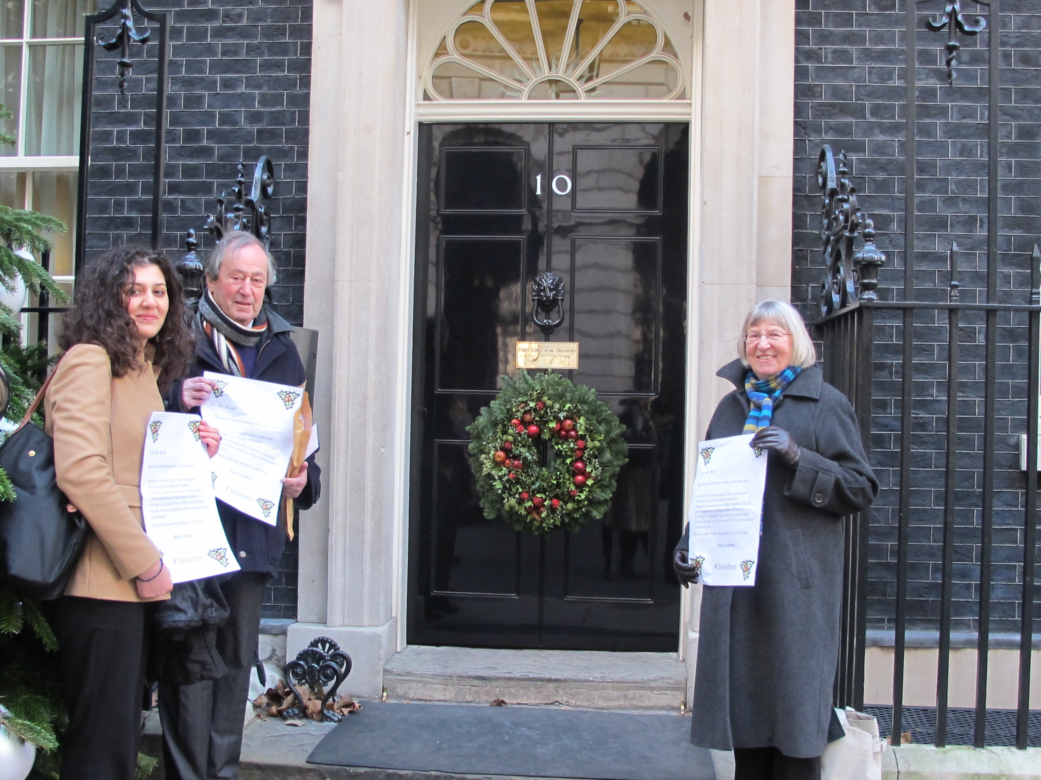 Haya Alfarra Sir Geoffrey Bindman QC Betty Hunter handing in petition
