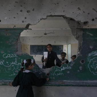 Photo: Anas al Baba/Oxfam – damaged school in Gaza, November 2014