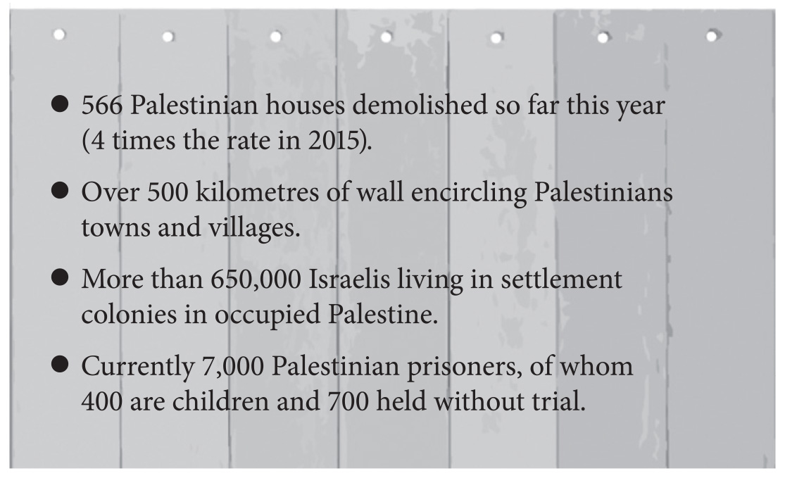 PSC guardian advert v3 - text on wall - Palestine Solidarity